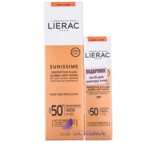 Лиерак Набор: Lierac Sunissime флюид SPF 50 40 мл + Sunissime средство для контура глаз SPF 50