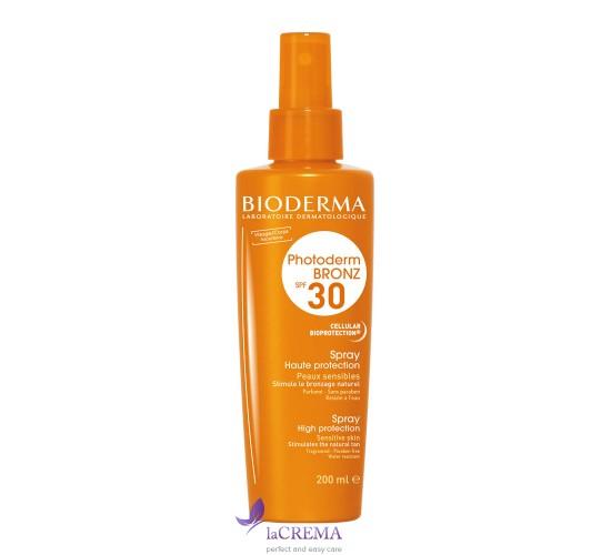 Биодерма Фотодерм Солнцезащитный спрей SPF 30 - Bioderma Photoderm Bronz, 200 мл