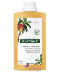 Klorane Шампунь питательный с маслом манго для сухих и поврежденных волос, 400 мл